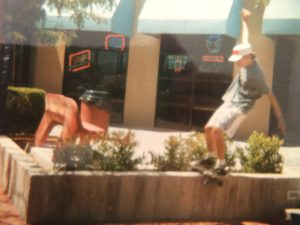 Me doing a boardslide at a shopping plaza in Vegas, around 1986. This spot was super fun, you could boardslide or grind this low wall off of two steps, all the way out to the end.