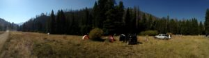 One of three Slashfest campsites up in the mountains outside of Sun Valley.